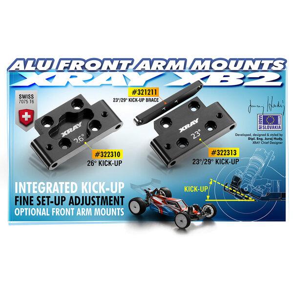 ALU FRONT LOWER ARM MOUNT 26° KICK-UP - SWISS 7075 T6
