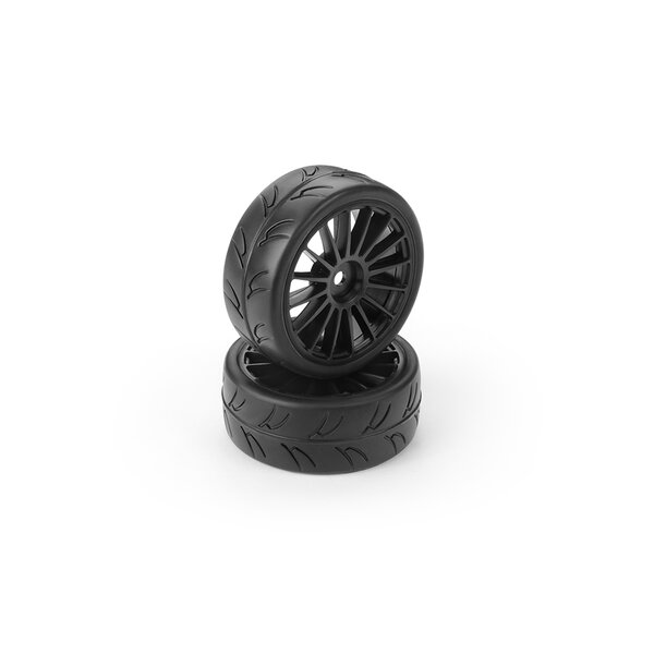 HUDY 1/10 TC TIRES ASPHALT&CARPET - BLACK WHEELS (2+2)